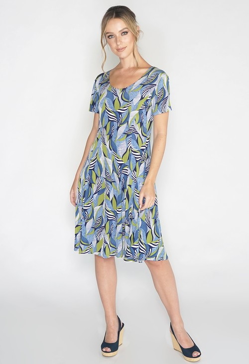 Pamela Scott Abstract Green Leaf Print Swing Dress