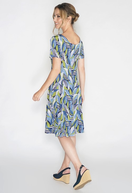 Pamela Scott Abstract Green Leaf Print Swing Dress