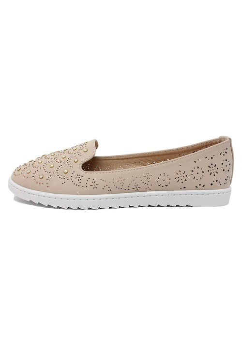 Shoe Lounge Beige Lightweight Pump with Decorative Stones