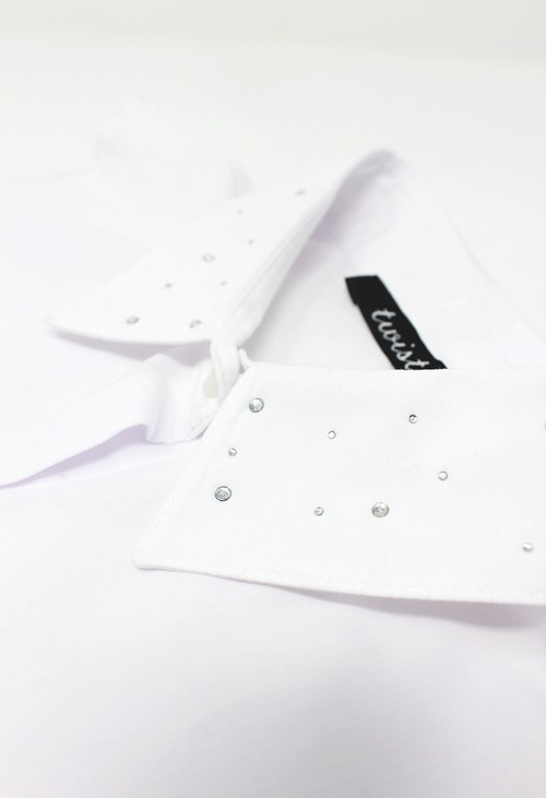 Twist White Diamonte Detail Bib Collar