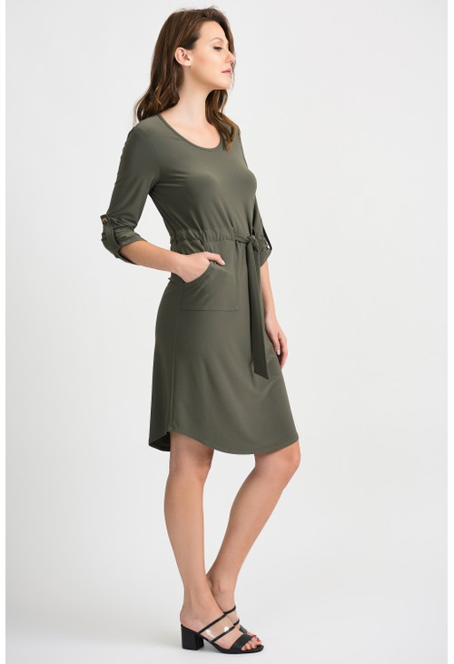 Joseph Ribkoff Khaki Tie Belt Dress