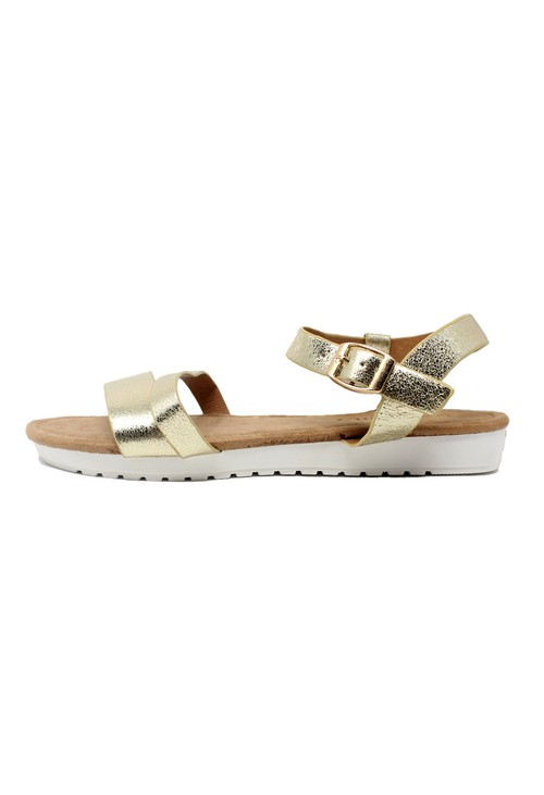 Shoe Lounge Lightweight Low Wedge Gold Sandal