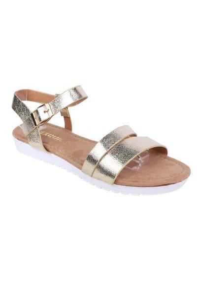 Shoe Lounge Lightweight Low Wedge Gold Sandal