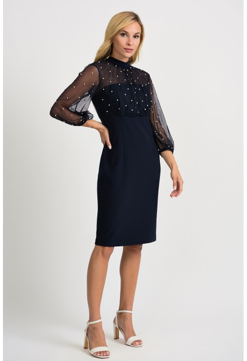 Joseph Ribkoff Navy Pearl Detailed Dress