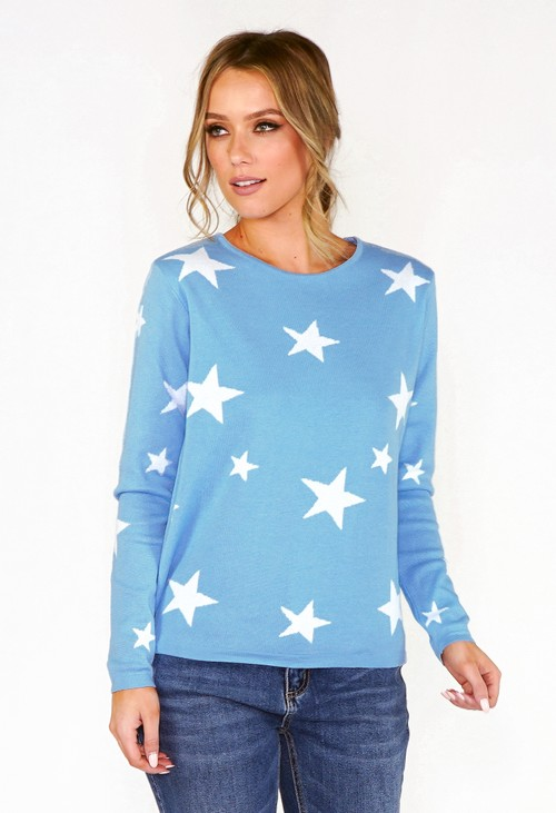 Twist Blue Star Knit Jumper