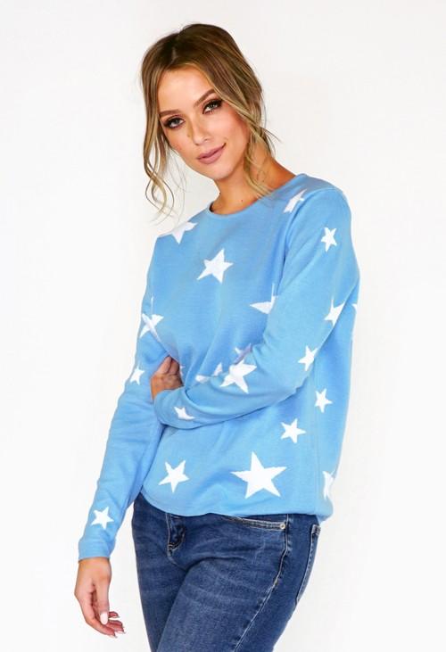Twist Blue Star Knit Jumper