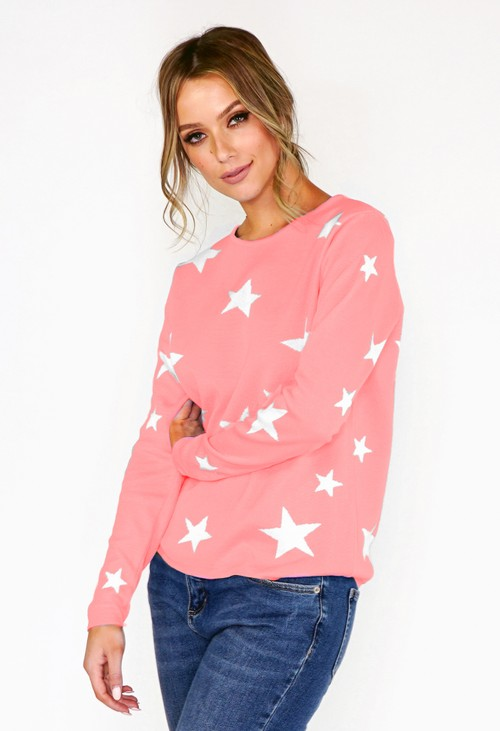 Twist Pink Star Knit Jumper