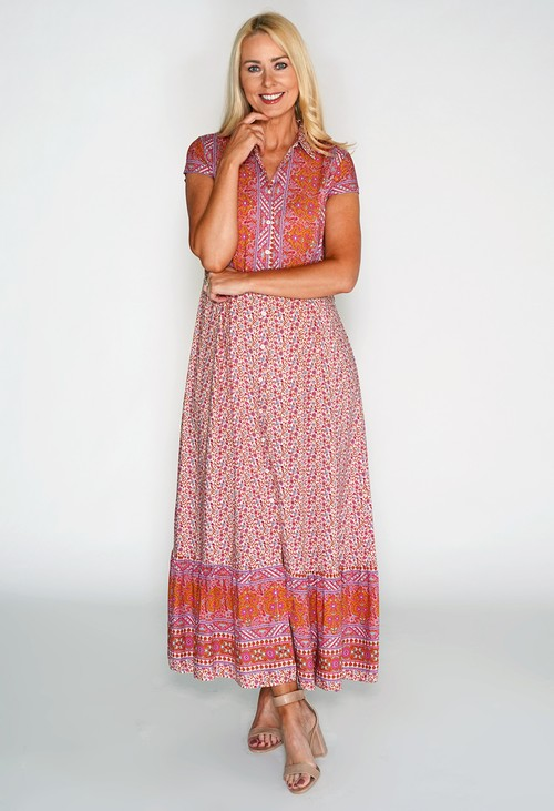Pamela Scott Paisley Contrast Maxi Dress
