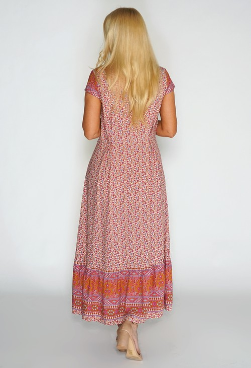Pamela Scott Paisley Contrast Maxi Dress