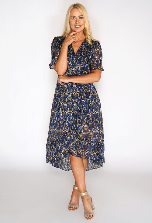 Pamela Scott Floral Print High Low Dress