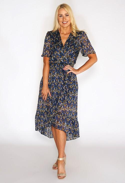 Pamela Scott Floral Print High Low Dress