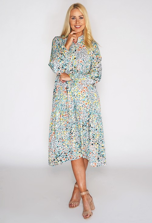 Pamela Scott Floral Midi Dress