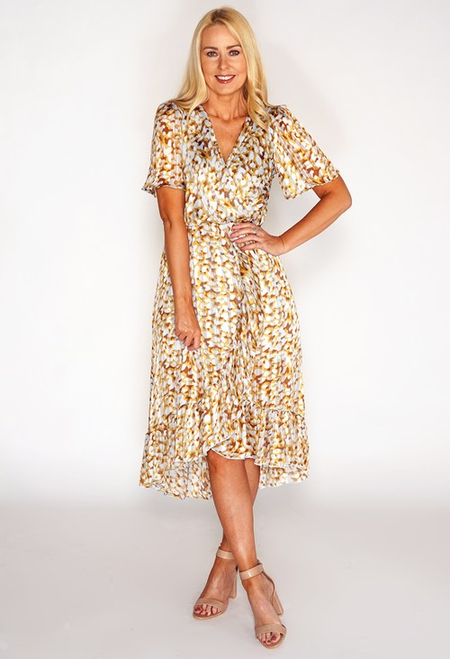 Pamela Scott Leopard High Low Dress