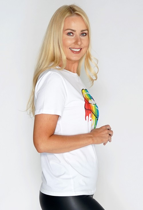 Pamela Scott Rainbow Lips Graphic T Shirt