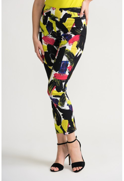 Joseph Ribkoff Painted graphic cropped pant