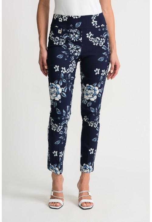 Joseph Ribkoff Flower printed trousers in navy