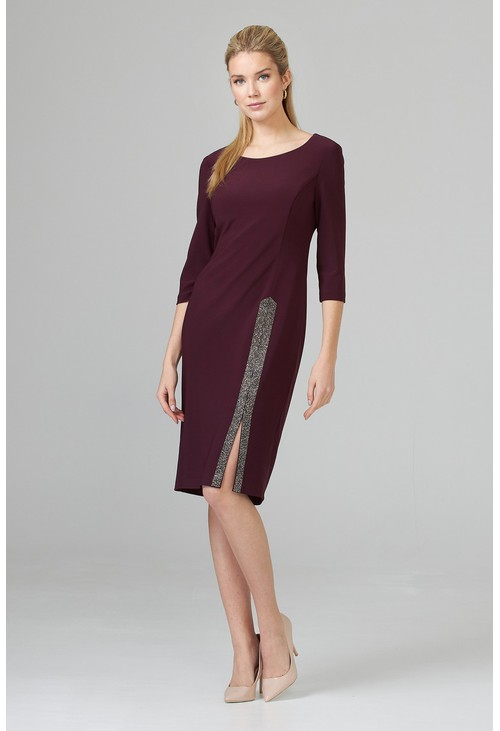 Joseph Ribkoff Plum Beaded Long Slit Dress