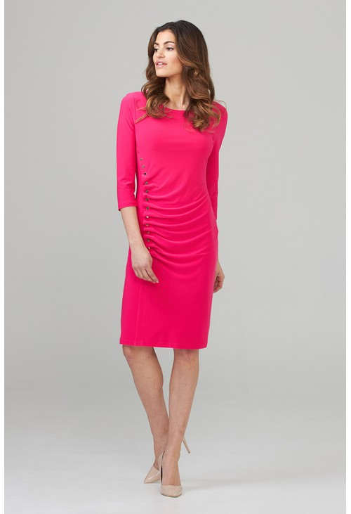 Joseph Ribkoff Pink Button Midi Dress