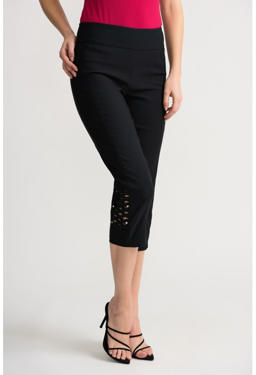 Joseph Ribkoff Black Braided Cropped Pant