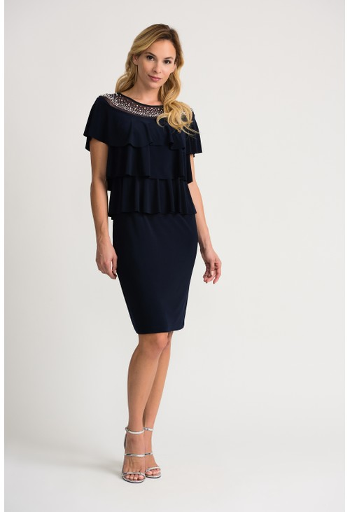 Joseph Ribkoff Pearl drop ruffle dress