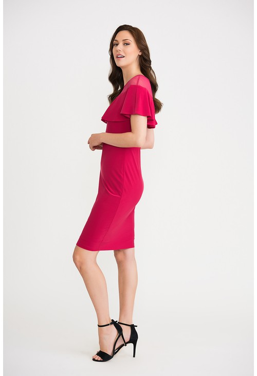 Joseph Ribkoff Ruffle Cape Dress