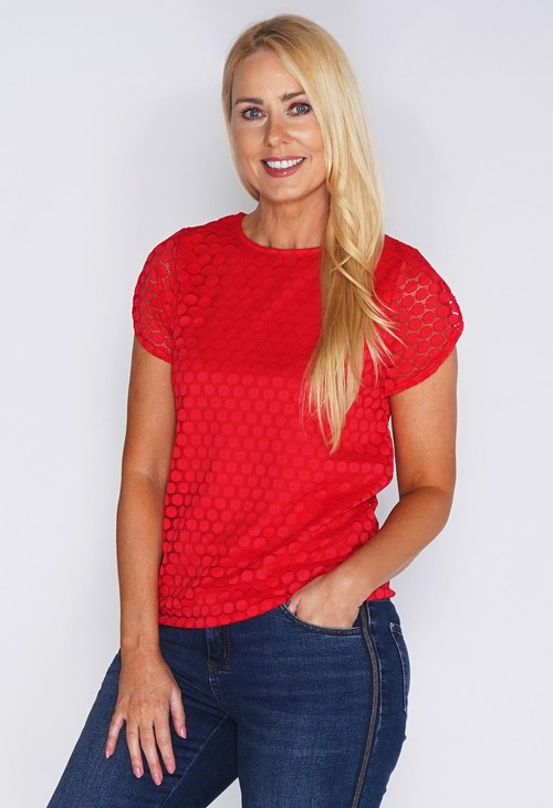 Zapara Red Lace Circle Print Top