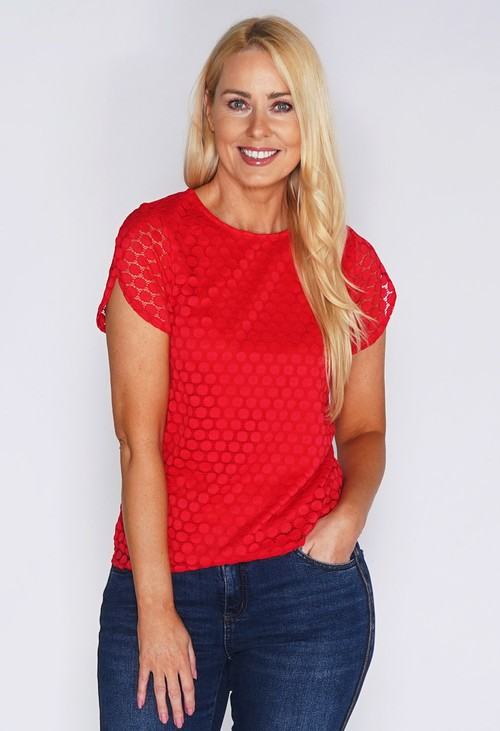 Zapara Red Lace Circle Print Top