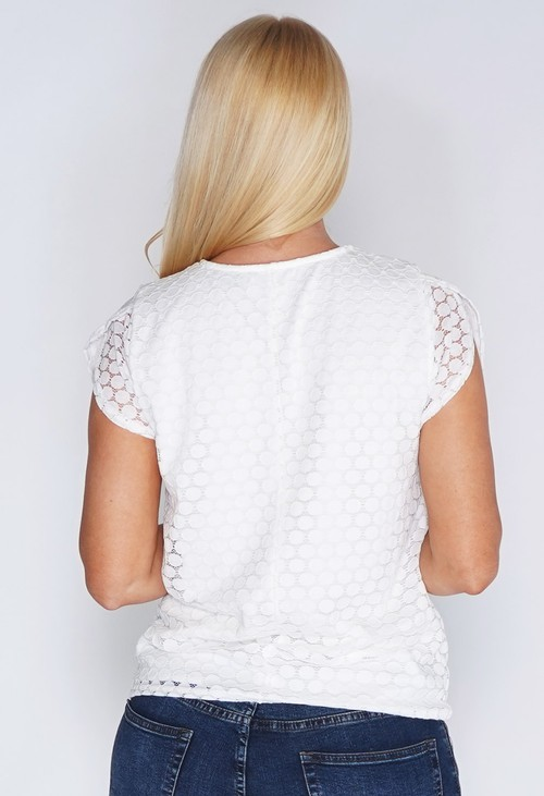 Zapara White Lace Circle Print Top
