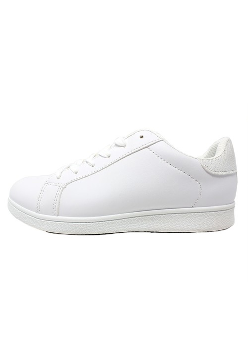 Pamela Scott White Trainer with Silver detail