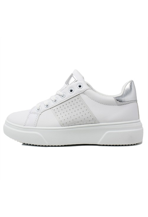 Pamela Scott Lightweight White 6 Eye Laced Trainer