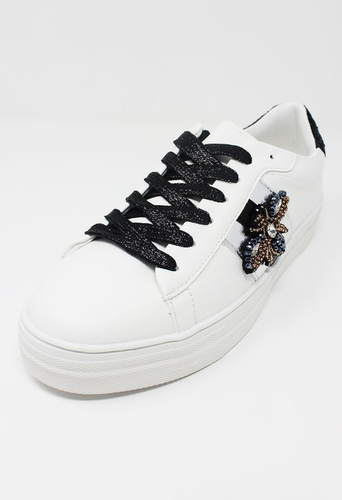 Shoe Lounge White with Black Glitter Laced Trainer