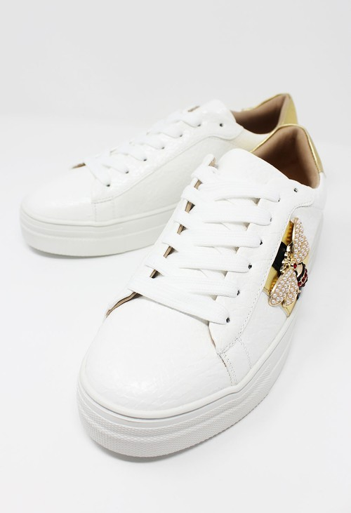 Shoe Lounge White with Gold Laced Trainer
