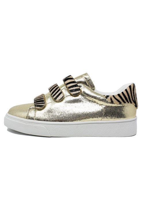 Pamela Scott Gold Trainer with Zebra Velcro Straps