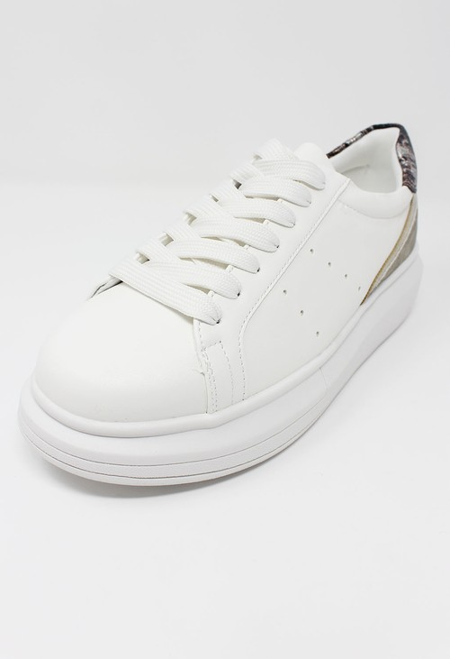 Pamela Scott White with Metallic detail Laced Trainer