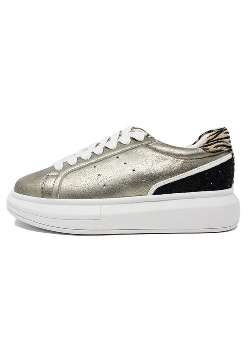 Pamela Scott Gold with Black Glitter detail Laced Trainer