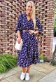 Pamela Scott Navy and Red Floral Shirt Dress