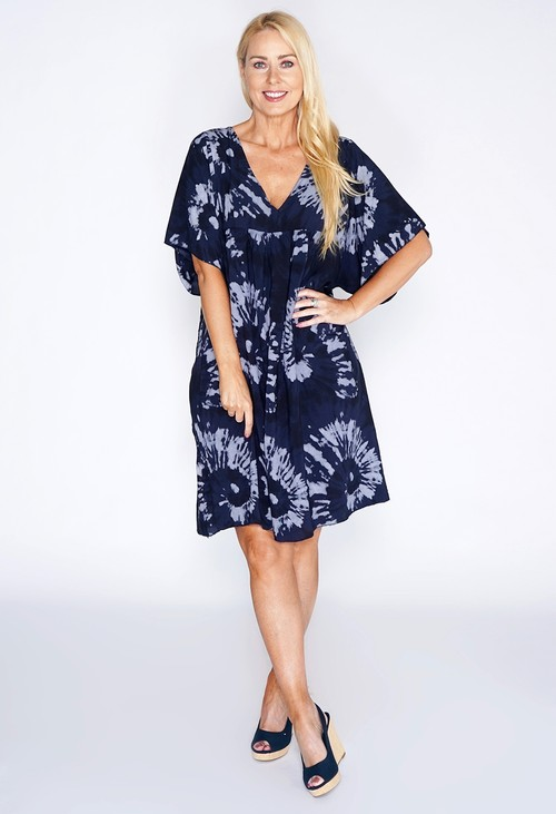 Pamela Scott Navy Tie Dye Smock Dress