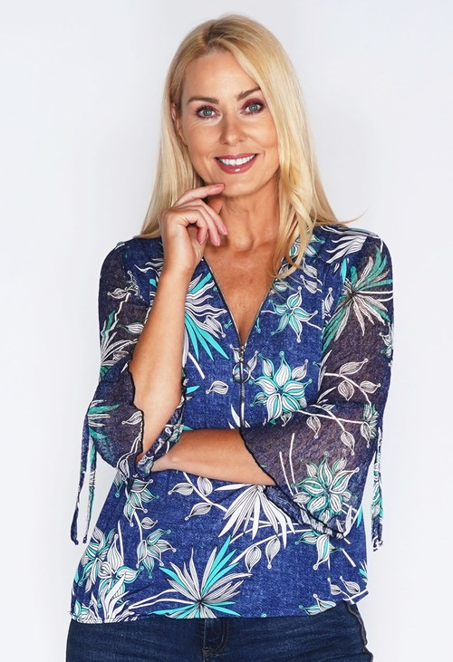 Sophie B Floral Zip Lace Sleeve Top