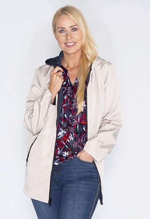 Pamela Scott Reversible Beige/Navy Rain Coat