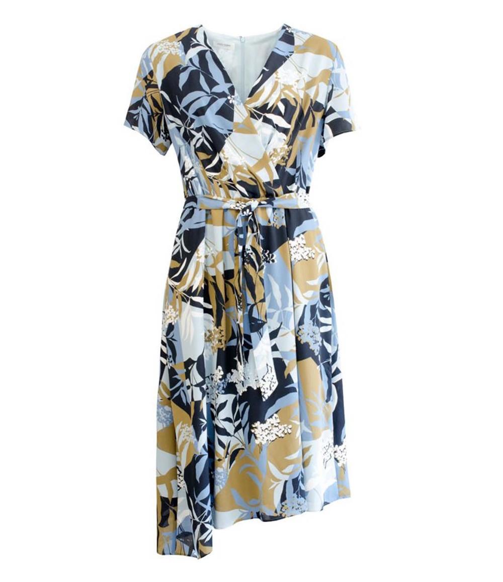 Gerry Weber FLORAL PRINT V-NECK DRESS WITH TIE NAVY