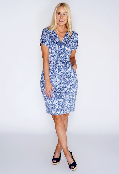 Zapara Abstract Print Dress with Pockets