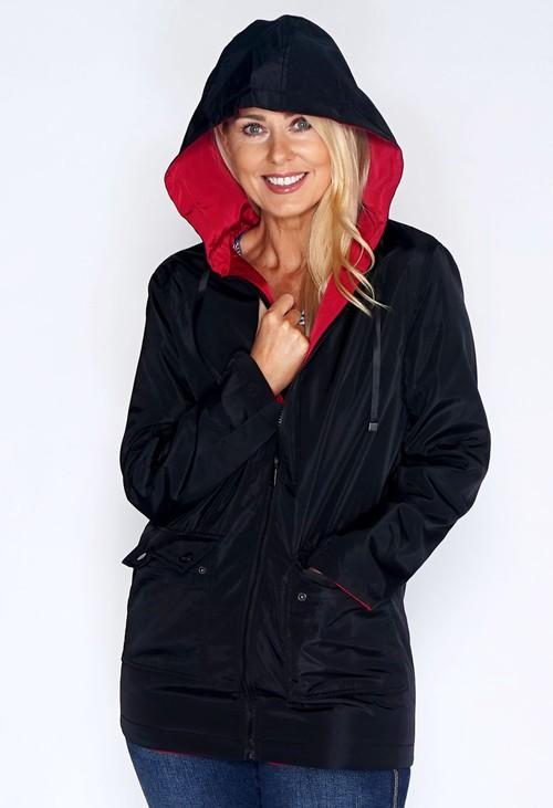 Pamela Scott Reversible Black/Red Rain Coat