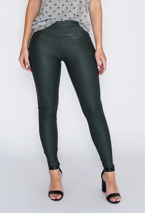 PS Leggings Green Faux Leather Leggings