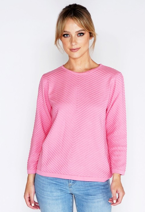 Twist Pink Chevron Stripe Knit