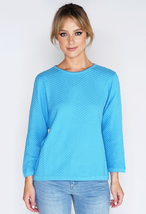 Twist Blue Chevron Stripe Knit