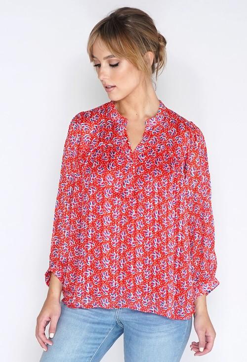 Pamela Scott Red Printed Oversized Blouse