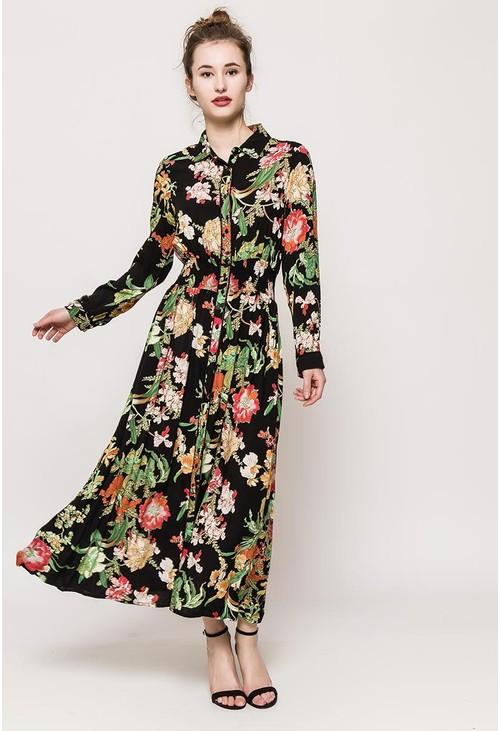 Pamela Scott Floral shirt maxi dress