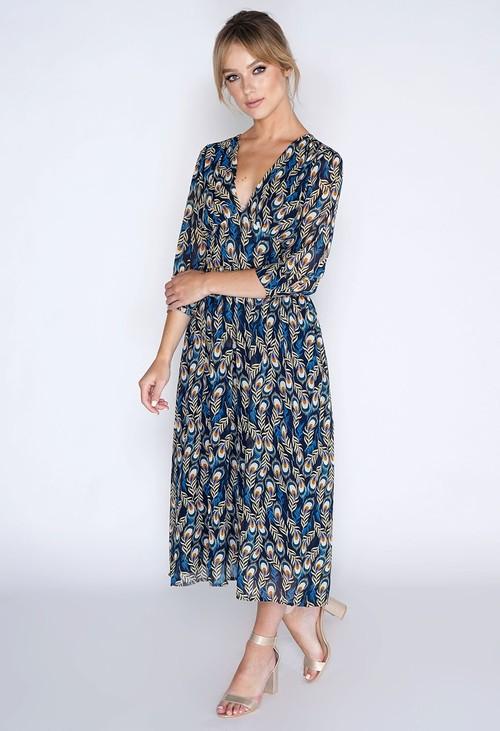 Pamela Scott Peacock Print Dress