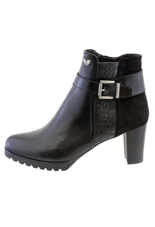 Susst Black Leather Look Side Zip Block Heel Ankle Boot