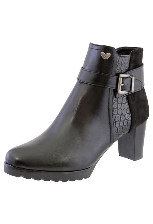 Susst Black Leather Look Side Zip Block Heel Ankle Boot